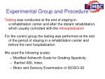 experimental group and procedure1
