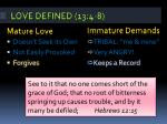 love defined 13 4 89