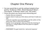 chapter one plenary