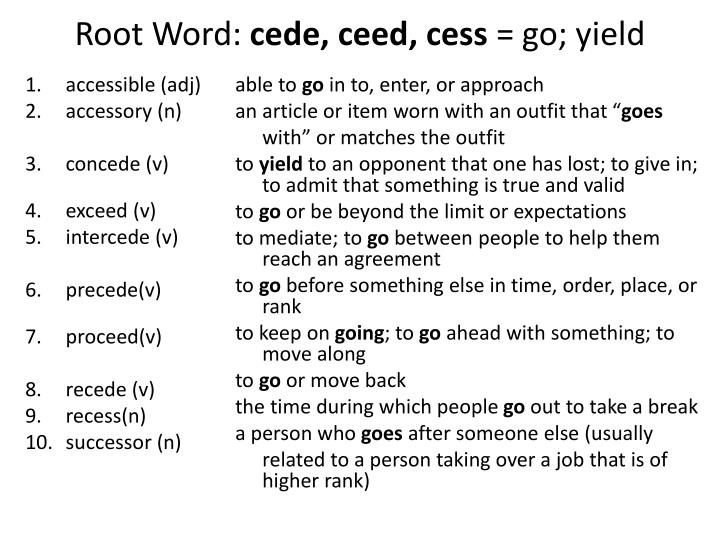 root word cede ceed cess go yield n.