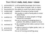 root word mob mot mov move