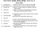 root word strain strict string bind tie or draw tight