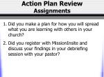 action plan review assignments