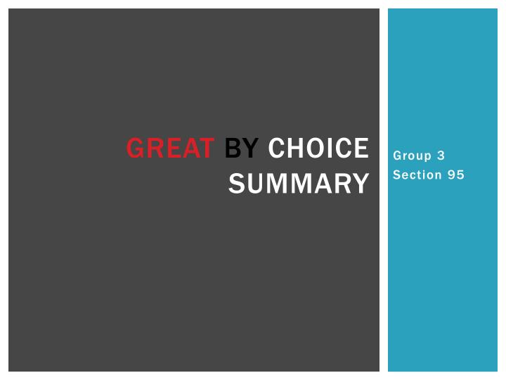 great by choice summary n.