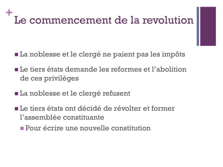 Le commencement de la revolution