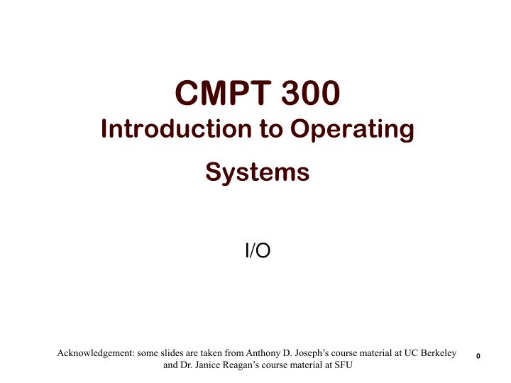 cmpt 300 introduction to operating systems n.