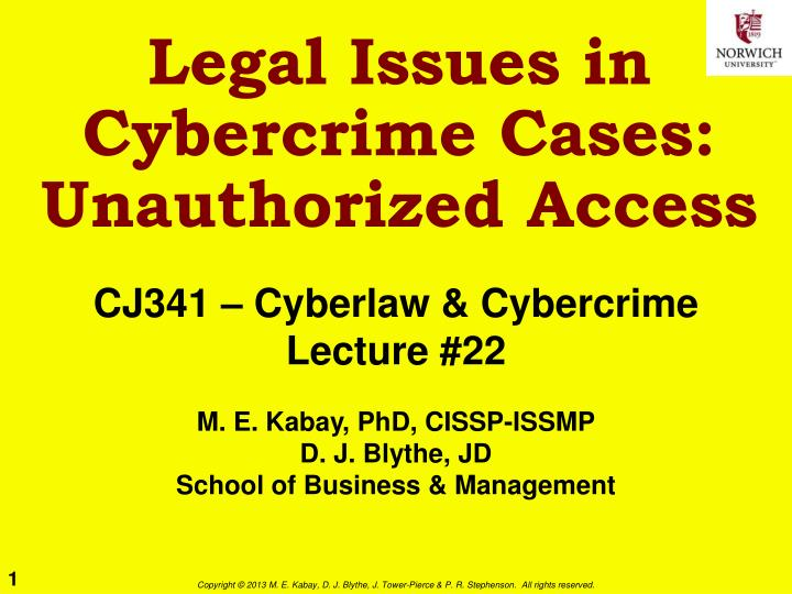 legal issues in cybercrime cases unauthorized access n.