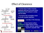 effect of clearence