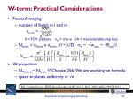 w term practical considerations
