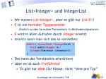 list integer und integerlist