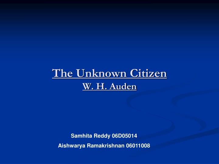 the unknown citizen w h auden n.
