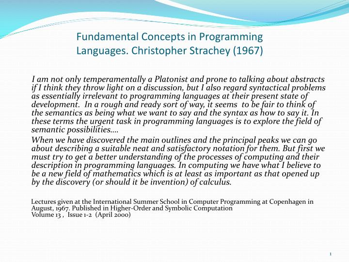 fundamental concepts in programming languages christopher strachey 1967 n.