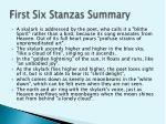 first s ix s tanzas summary