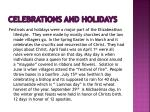 celebrations and holidays