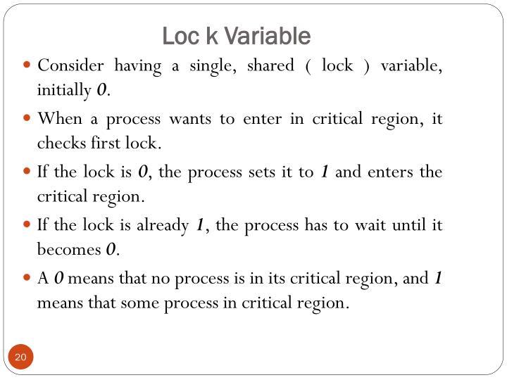 Loc k Variable