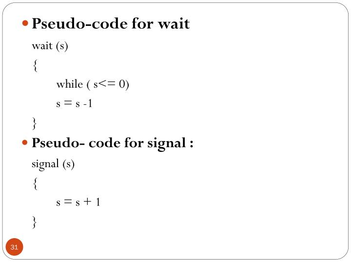 Pseudo-code for wait
