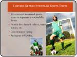 example sponsor intramural sports teams