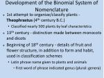 development of the binomial system of nomenclature