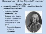 development of the binomial system of nomenclature1