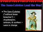 the sans culottes lead the way