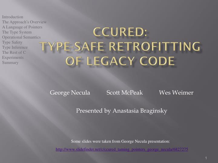 ccured type safe retrofitting of legacy code n.