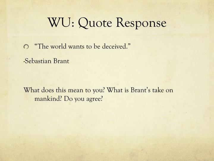 wu quote response n.