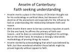 anselm of canterbury faith s eeking u nderstanding