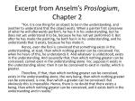 excerpt from anselm s proslogium chapter 2