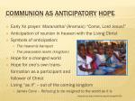 communion as anticipatory hope