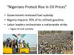 nigerians protest rise in oil prices