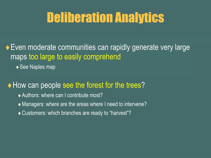 Deliberation Analytics