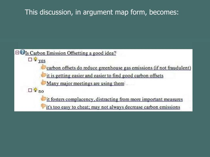 This discussion, in argument map form, becomes: