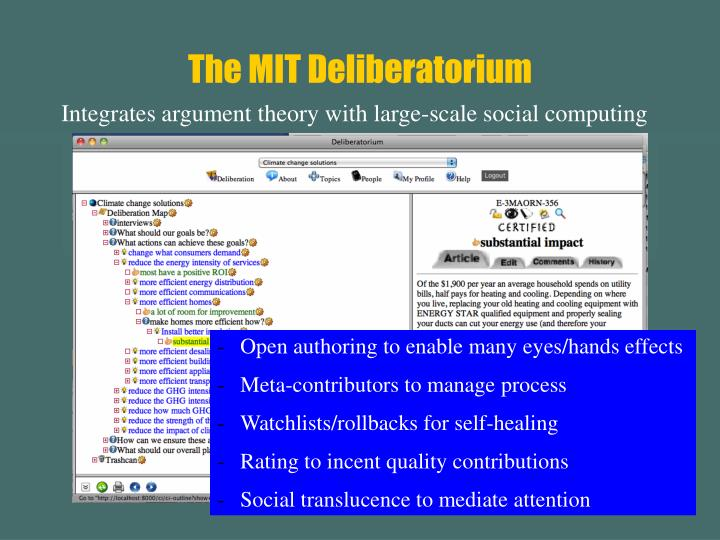 The MIT Deliberatorium