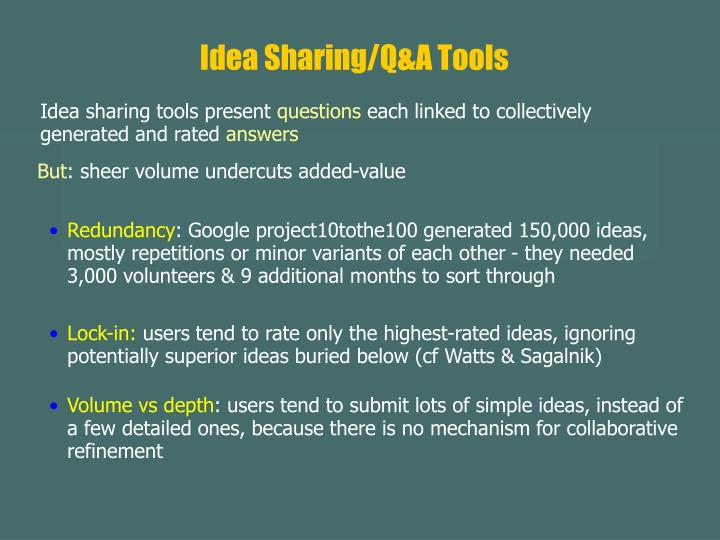 Idea Sharing/Q&A Tools