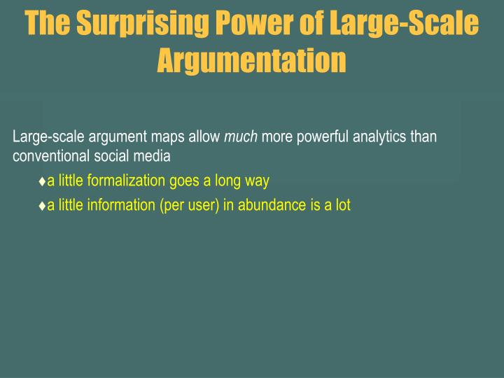 The Surprising Power of Large-Scale Argumentation