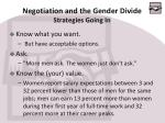 negotiation and the gender divide strategies going in