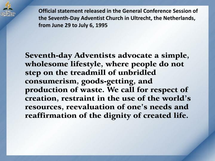 Official statement released in the General Conference Session of the Seventh-Day Adventist Church in