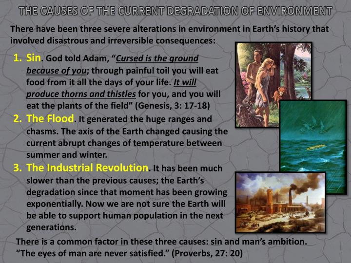 THE CAUSES OF THE CURRENT DEGRADATION OF ENVIRONMENT