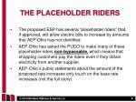 the placeholder riders