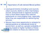 importance of sub national local politics