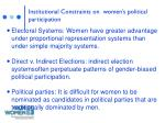 institutional constraints on women s political participation