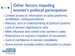 other factors impeding women s political participation