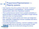 proportional representation v majority systems