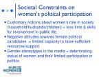 societal constraints on women s political participation