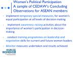 women s political participation a sample of cedaw s concluding observations for asean members