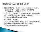 insertar datos en user