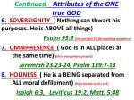 continued attributes of the one true god