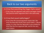 back to our two arguments