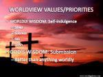worldview values priorities