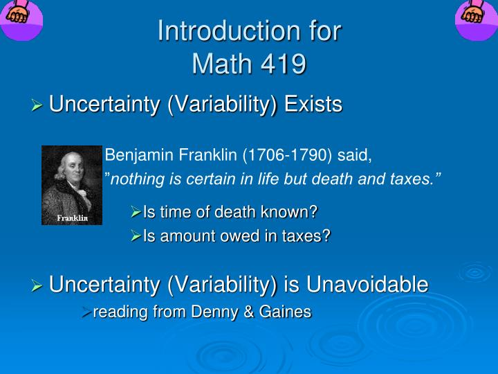 introduction for math 419 n.